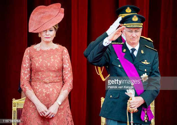 King Philippe of Belgium and Queen Mathilde of Belgium attend the military parade during Belgian National Day on July 21 2019 in Brussels Belgium