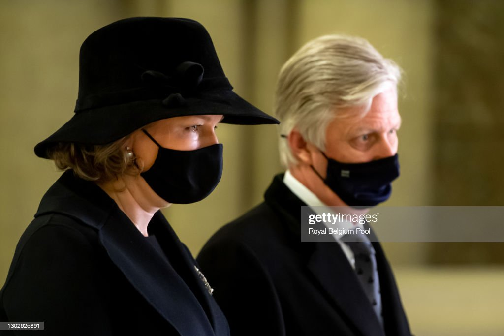 King Philippe Of Belgium And Queen Mathilde Attend The Annual Memorial  Mass For The Deceased members Of The Royal Family : News Photo