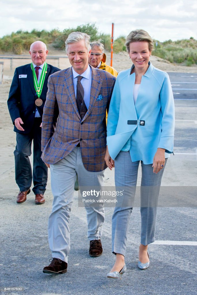 King Philippe And Queen Mathilde Attend Demonstration Of Shrimp Fishing On Horseback In Koksijde