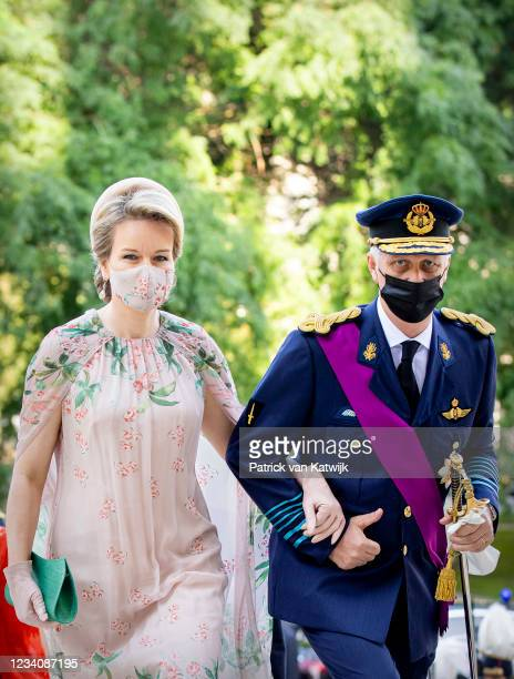 King Philippe of Belgium and Queen Mathilde of Belgium attend the Te Deum Mass at the National day in the Cathedral on July 21, 2021 in Brussels,...