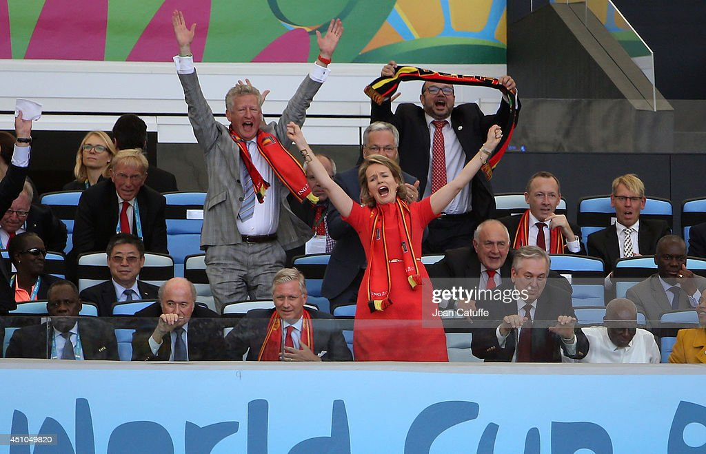 King Philippe of Belgium and Queen Mathilde of Belgium celebrate the victory of Belgium at the end of the 2014 FIFA World Cup Brazil Group H match between Belgium and Russia at Maracana on June 22, 2014 in Rio de Janeiro, Brazil.