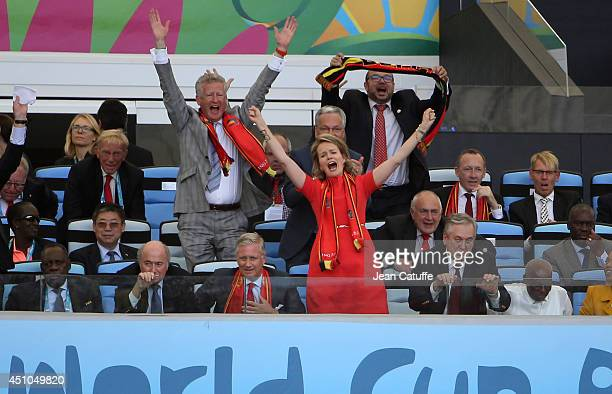 King Philippe of Belgium and Queen Mathilde of Belgium celebrate the victory of Belgium at the end of the 2014 FIFA World Cup Brazil Group H match...