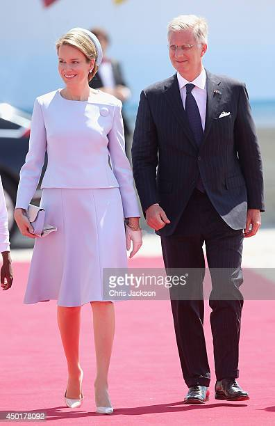 King Philippe of Belgium and Queen Mathilde of Belgium during a Ceremony to Commemorate DDay 70 on Sword Beach on June 6 2014 in Ouistreham France...