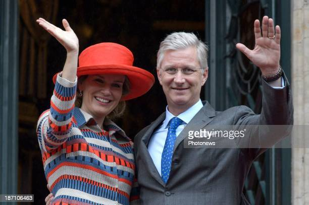 King Philippe of Belgium and Queen Mathilde of Belgium during a visit to the province of Brussels on November 6, 2013 in Brussels, Belgium.