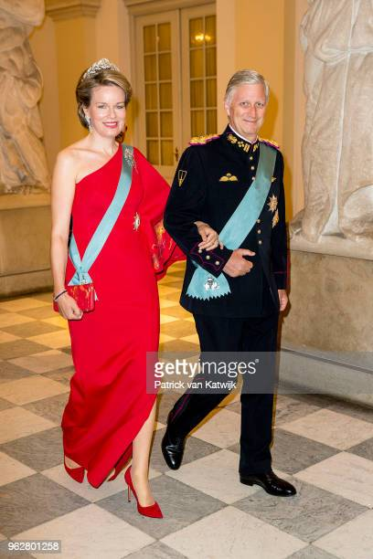 King Philippe of Belgium and Queen Mathilde of Belgium during the gala banquet on the occasion of The Crown Prince's 50th birthday at Christiansborg...