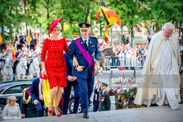 King Philippe of Belgium and Queen Mathilde of Belgium during the Te Deum Mass at the National Day on July 21 2018 in Brussels Belgium