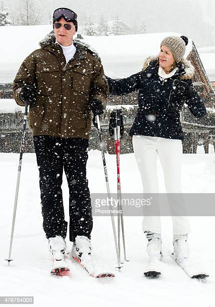 King Philippe of Belgium and Queen Mathilde of Belgium during their family sking holiday on March 3 2014 in Verbier Switzerland