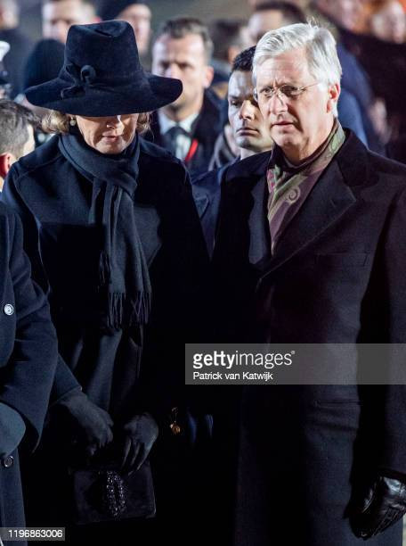 King Philippe of Belgium and Queen Mathilde of Belgium lay down candles on the Auschwitz monument to commemorate the 75th anniversary of the...