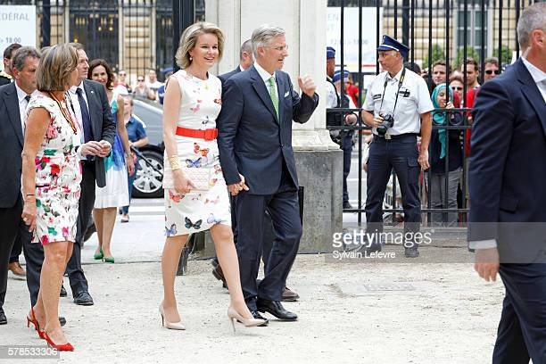 King Philippe of Belgium and Queen Mathilde of Belgium pictured during a Royal Visit to the 'Fete au parc' celebrations on the Belgian National Day...