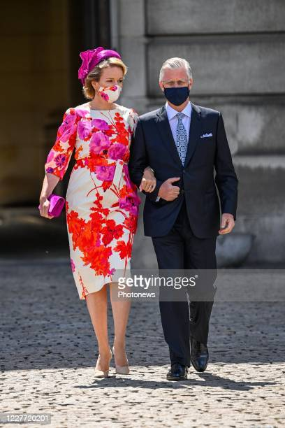 King Philippe of Belgium and Queen Mathilde of Belgium pictured during the National Parade for the Belgian National Day. July 21, 2020 in Brussels,...