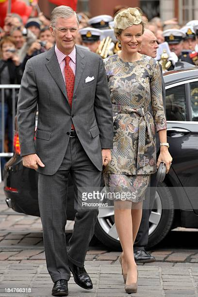 King Philippe of Belgium and Queen Mathilde of Belgium pictured during their visit to the province of Ghent on October 16 2013 in Gent Belgium