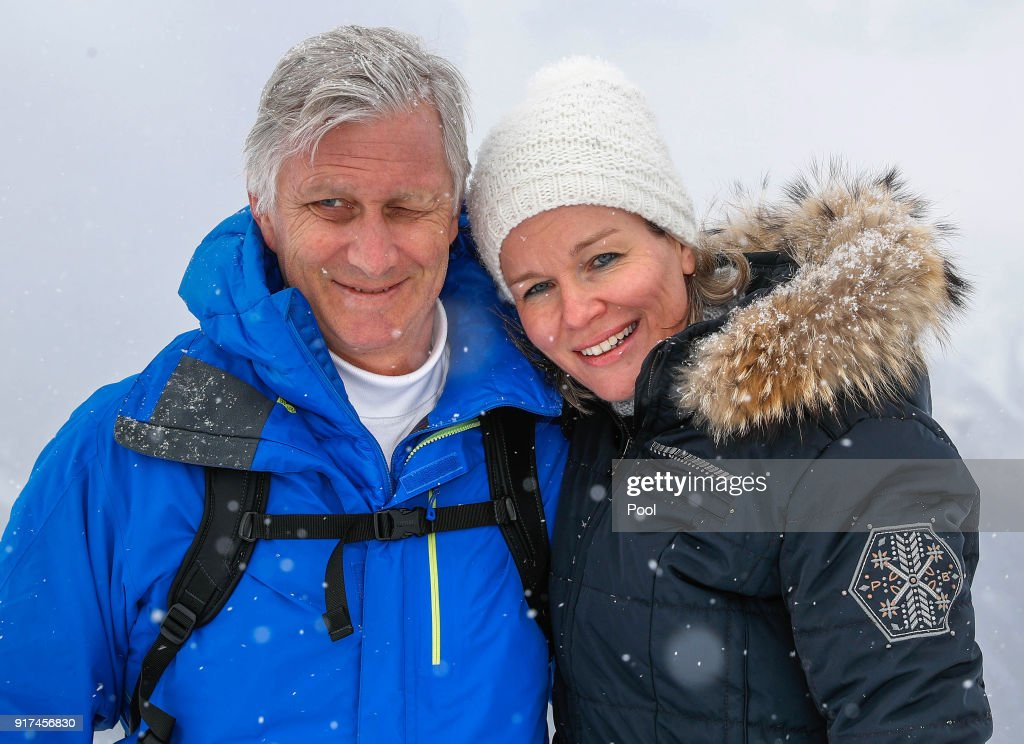 King Philippe of Belgium and Queen Mathilde of Belgium pose during their family skiing holidays on February 12, 2018 in Verbier, Switzerland.