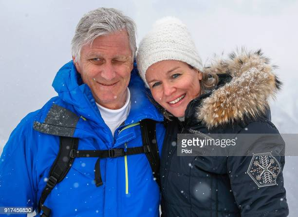 King Philippe of Belgium and Queen Mathilde of Belgium pose during their family skiing holidays on February 12 2018 in Verbier Switzerland