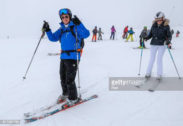 King Philippe of Belgium and Queen Mathilde of Belgium sli during their ski holidays on February 12 2018 in Verbier Switzerland