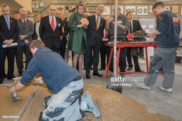 King Philippe of Belgium and Queen Mathilde of Belgium visit ConstruForm a centre for the training of youngsters in construction business on February...