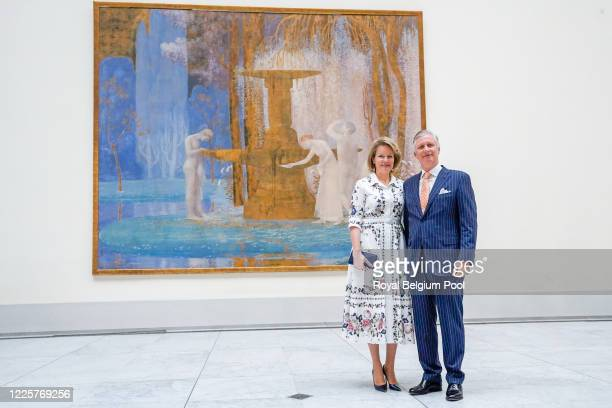 King Philippe of Belgium and Queen Mathilde of Belgium visit the Royal Museums of Fine Arts on May 19, 2020 in Brussels, Belgium. The Old Masters...