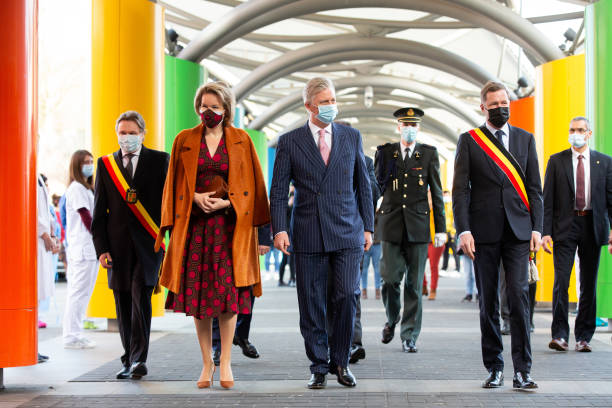 BEL: King Philippe Of Belgium And Queen Mathilde Visit The Marie Curie Civil Hospital In Lodelinsart