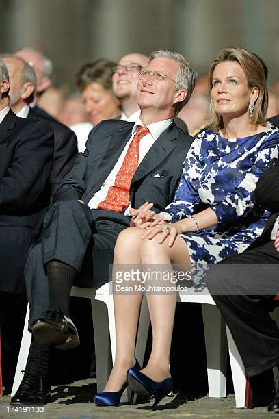 King Philippe of Belgium and Queen Mathilde of Belgium watch the fireworks after the Abdication Of King Albert II Of Belgium, & Inauguration Of King...