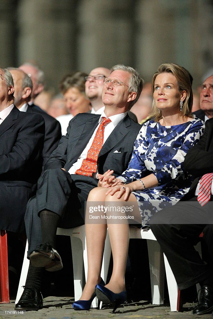 King Philippe of Belgium and Queen Mathilde of Belgium watch the fireworks after the Abdication Of King Albert II Of Belgium, & Inauguration Of King Philippe on July 21, 2013 in Brussels, Belgium.
