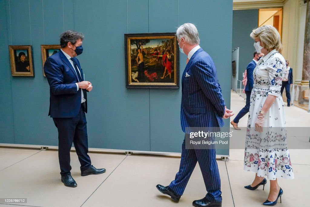 King Philippe Of Belgium And Queen Mathilde Of Belgium Visit The Royal Museums Of Fine Arts : News Photo