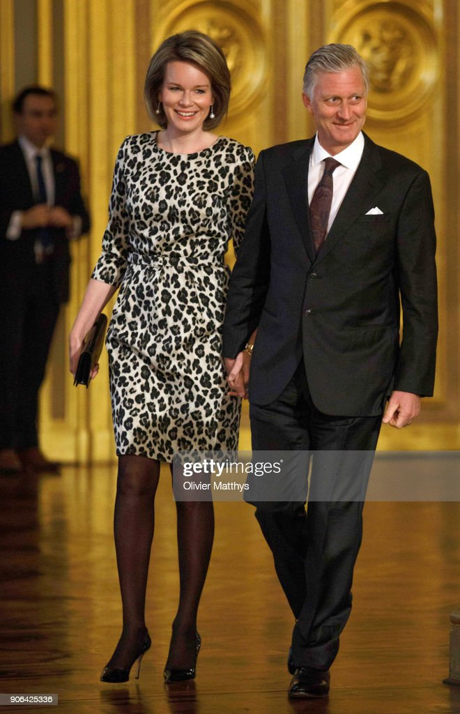 King Philippe Of Belgium and Queen Mathilde Receive the Belgian Authorities At the Royal Palace in Brussels