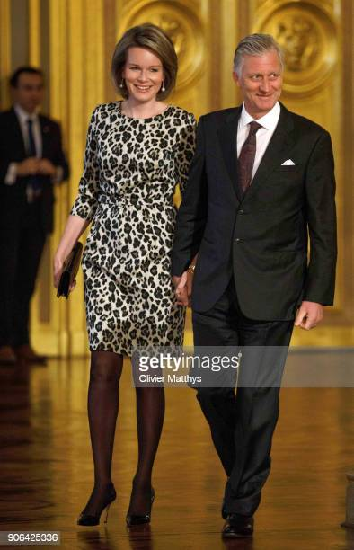 King Philippe of Belgium and Queen Mathilde receive the Belgian Authorities at the Royal Palace on January 18 2018 in Brussels Belgium