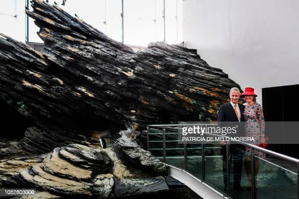 King Philippe of Belgium and Queen Mathilde visit Lisbon's Oceanarium on October 23 in Lisbon, on the second day of their three-days official visit.