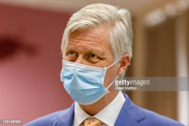 King Philippe of Belgium and Queen Mathilde visit the Antwerp Tropical Institute of Medicine to inquire about the impact of the COVID-19 coronavirus...