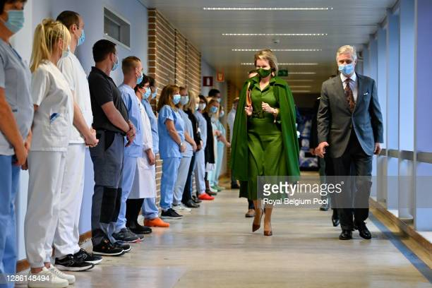 King Philippe of Belgium and Queen Mathilde visit the Bois de l'Abbaye Hospital Center, on November 17, 2020 in Charleroi, Belgium. The Royal Couple...