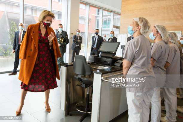 King Philippe of Belgium and Queen Mathilde visit the Marie Curie Civil Hospital on February 25, 2021 in Lodelinsart, Belgium. The Royal Couple...