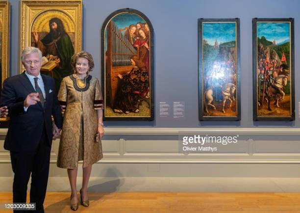 """King Philippe of Belgium and Queen Mathilde visit the """"Van Eyck an Optical Revolution"""" exhibition at the Museum of Fine Arts on January 30 2020 in..."""