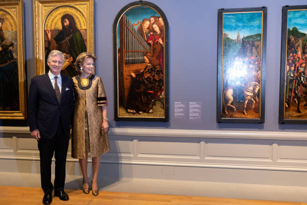 "BEL: King Philippe Of Belgium And Queen Mathilde visit the ""Van Eyck An Optical Revolution"" Exhibition At The Museum Of Fine Art"