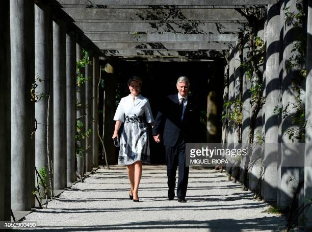 King Philippe of Belgium and Queen Mathilde walk around the gardens of the Serralves Museum in Porto on October 24 on the third day of their official...