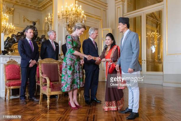 King Philippe of Belgium and Queen Mathilde welcome Ambassador of the Republic of Nepal Lok Bahadur Thapa and Spouse during a New Year's Reception...