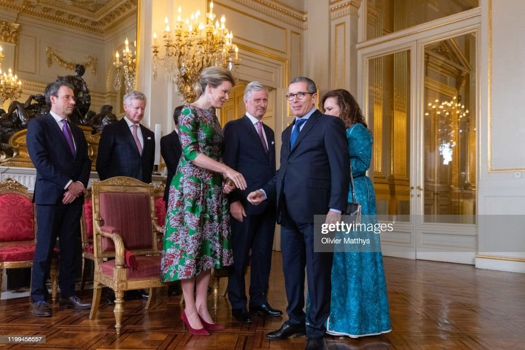 King Philippe Of Belgium And Queen Mathilde Welcome The Heads Of Foreign Diplomatic Missions To Belgium : News Photo