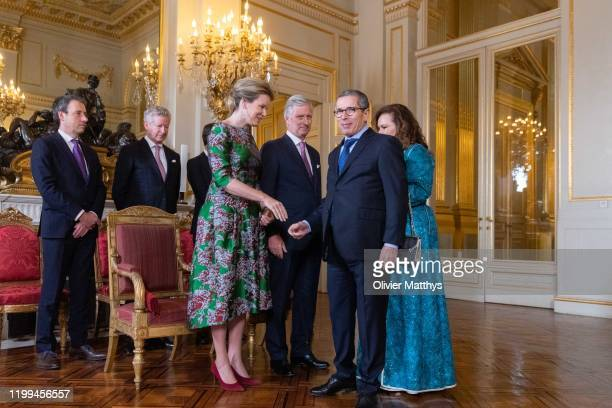 King Philippe of Belgium and Queen Mathilde welcome Ambassador of the Kingdom of Morocco Mohammed Ameur and Spouse during a New Year's Reception for...