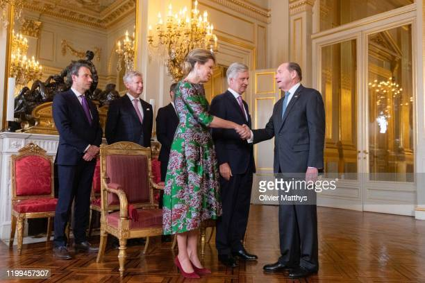King Philippe of Belgium and Queen Mathilde welcome Ambassador of the United States Ronald Jay Gidwitz during a New Year's Reception for Heads of...