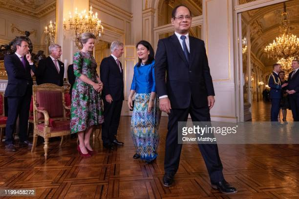 King Philippe of Belgium and Queen Mathilde welcome Ambassador of the Republic of Union of Myanmar Soe Lynn Han during a New Year's Reception for...
