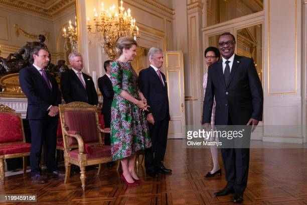 King Philippe of Belgium and Queen Mathilde welcome Ambassador of the Republic of Burundi Thérence Ntahiraja and Spouse during a New Year's Reception...