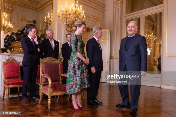 King Philippe of Belgium and Queen Mathilde welcome Ambassador of the Islamic Republic of Iran Masoud Gharanfoli during a New Year's Reception for...