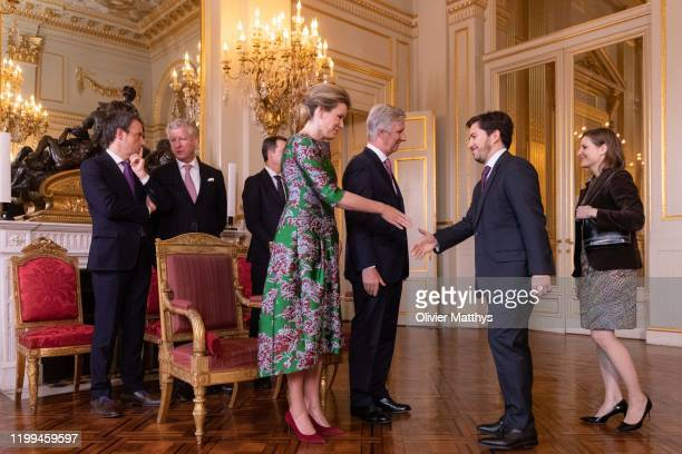 King Philippe of Belgium and Queen Mathilde welcome Ambassador of the Kingdom of Spain Jorge Notivoli Marin and Spouse during a New Year's Reception...
