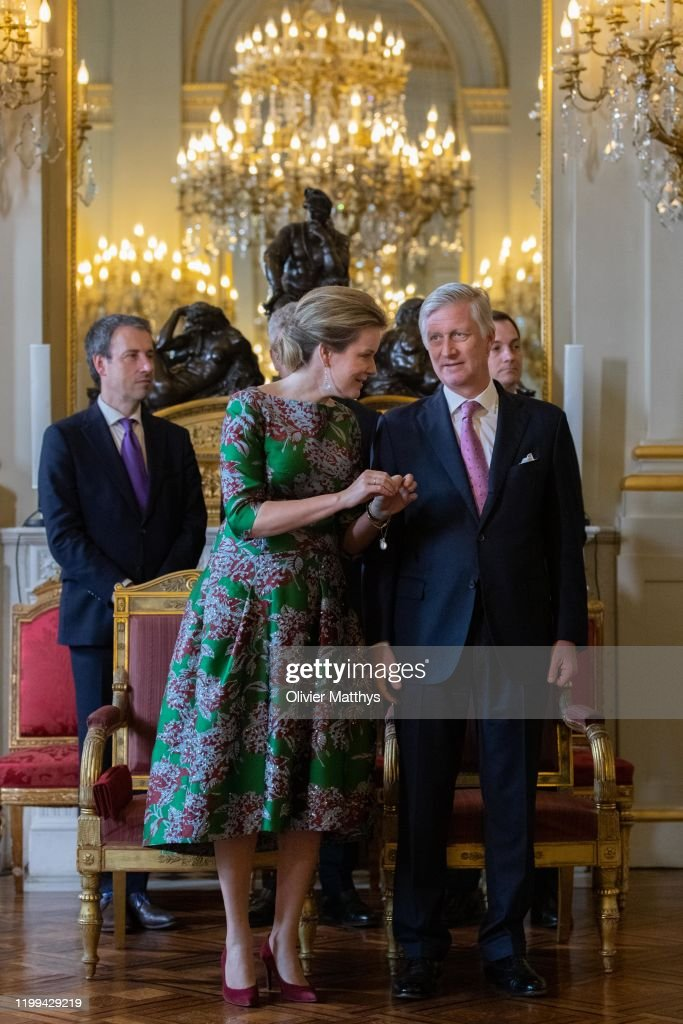 King Philippe Of Belgium And Queen Mathilde Welcome The Heads Of Foreign Diplomatic Missions To Belgium : Nieuwsfoto's
