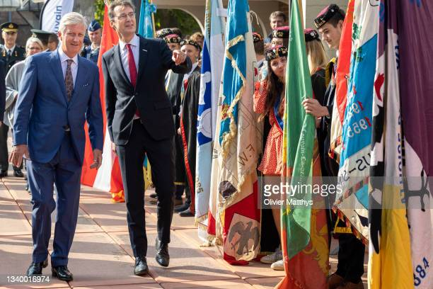 King Philippe of Belgium and UCLouvain Rector Vincent Blondel attend the opening of the academic year of the Catholic University on September 13,...