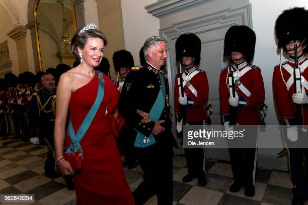 King Philippe of Belgium and wife Queen Mathilde arrive to the gala banquet on the occasion of The Crown Prince's 50th birthday at Christiansborg...
