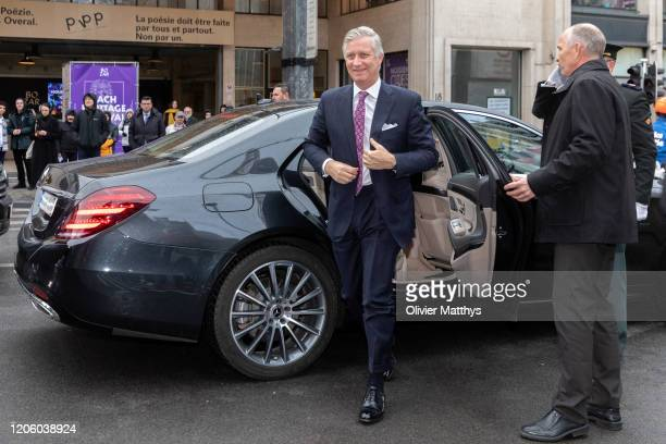 King Philippe of Belgium arrives at the 125th anniversary celebration of the Federation of Enterprises FEB at the Bozar palace on February 13 2020 in...