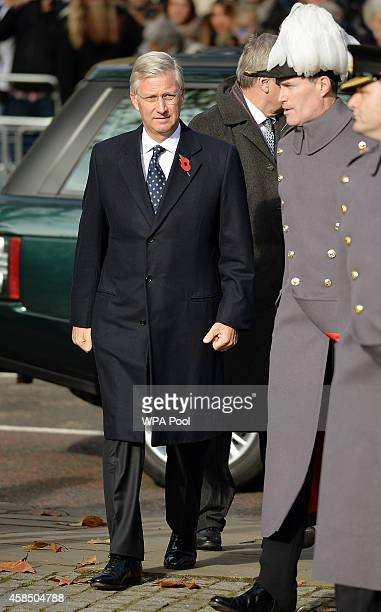 King Philippe of Belgium arrives for the opening of the Flanders' Fields Memorial Garden on November 6 2014 in London England