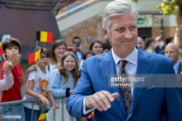 King Philippe of Belgium arrives prior to attending the opening of the academic year of the Catholic University UCLouvain on September 13, 2021 in...