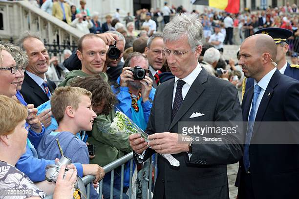 King Philippe of Belgium attends a Mass for the 20th anniversary of King Baudouin's death at Cathedrale des Saints-Michel-et-Gudule on July 31, 2013...