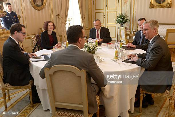 King Philippe of Belgium attends a workshop on education between the three Belgian communities on January 7 2014 in Brussels Belgium King Philippe...