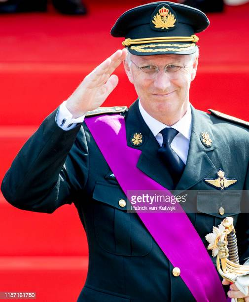 King Philippe of Belgium attends the military parade during Belgian National Day on July 21 2019 in Brussels Belgium
